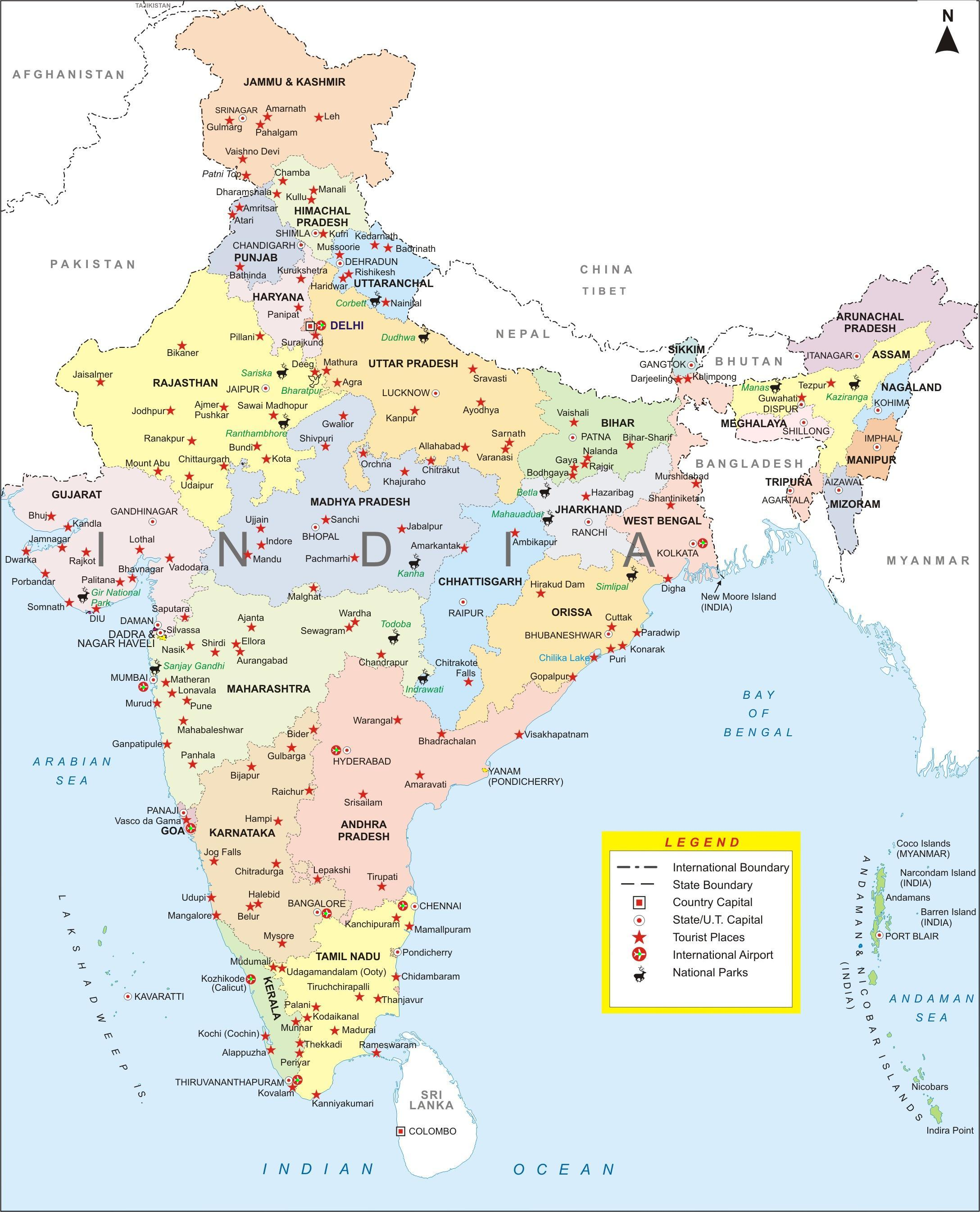 City Map Of India India city map   Creative Travel I A family story since 1977